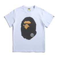 Wholesale t shirt glasses - Men pure cotton letters and short sleeves Glass bead flicker T - shirt Letter black and white Half sleeve of fashion trend New style