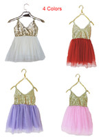 Wholesale dress paty - Summer kids long lace girls tutu dress gallus cute sequin sleeveless skirts ballet dance baby paty birthday