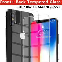 iphone прозрачное переднее стекло оптовых-Для iPhone XR XS X XS MAX 8 8PLUS 7 7PLUS 6 6PLUS Передняя задняя защитная пленка для телефона из закаленного стекла в одном бумажном пакете 2.5d прозрачное стекло