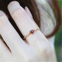 anéis de pedras preciosas de 14k venda por atacado-TYPEDESIGN Lindo casal feminino Dainty, anel de ouro 14k coração Ruby Diamond, requintado Mini anel bonito menina. anéis de gemstone para mulheres