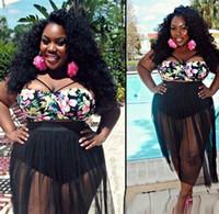 Wholesale plus size bikini skirt - S-4XL High Waist Swimwear 2016 New Mesh Bikini Set Plus Size Swimwear for Women Padded Swimsuit Retro Long Skirt Bathing suit