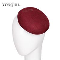 faire fascinateur achat en gros de-Nouveau 15CM Rond imitation lin Fascinator marron couleur fascinator base de chapeau Artisanat Fabriquant des accessoires Matériel coiffure de noce SYB04