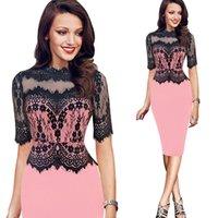vestido de lápiz de color rosa caliente al por mayor-2018 otoño nueva moda de encaje vestido de encaje falda costura collar de soporte sexy lápiz falda manga vestido rosa rojo verde