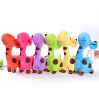 araba emici oyuncaklar toptan satış-18 cm Zürafa geyik peluş oyuncaklar bebek Araba pencere dekorasyon Enayi kolye Doldurulmuş Hayvanlar Oyuncak Tatil hediyeler 5 Renk ...