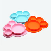 Wholesale Black Dishes - 3 Colors Bear Paw Kids Silicone Food Tray Dishes Lunch Box Dinner Plates set Household Supplies Kitchen Accessories Travel Tools