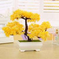 künstliche bonsai-bäume großhandel-Partei Liefert Kunststoff Künstliche Baum Pflanzen Keramik Bonsai Baum Topf Kultur Für Office Home Wohnzimmer Möbel Dekorative