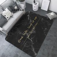 boden buchstaben matte großhandel-LOUTASI Nordic Letters Marmor Muster Teppich Wohnzimmer Teppich Sofa Tisch Bodenmatte Schlafzimmer Rechteckigen Nacht Bereich Teppich Yoga Mat
