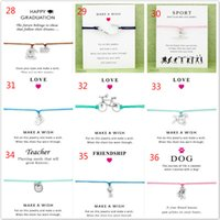 Wholesale Invisible Cards - 20pcs Wish Bracelet With Gift Card Dog Paw Unicorn Teacher Charm Bracelets Bangles for Women men Friendship Statement Jewelry Greeting Cards