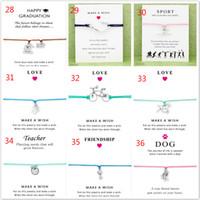 Wholesale Green Friendship - 20pcs Wish Bracelet With Gift Card Dog Paw Unicorn Teacher Charm Bracelets Bangles for Women men Friendship Statement Jewelry Greeting Cards