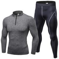 medias de ropa de fitness al por mayor-Hombres otoño primavera ropa de manga larga conjunto Running Sportswear apretado secado rápido culturismo Fitness Gym hombres chándales