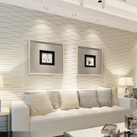 papel pintado a rayas dormitorio al por mayor-3D estéreo en relieve no tejido Wallpaper Wallcovering Moderno Vertical Horizontal rayado Living Room TV Telón de fondo de pantalla