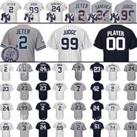 Wholesale Green Mantle - 99 Aaron Judge 2 Baseball Jersey 24 23 Don Mattingly 3 Babe Ruth 7 Mickey Mantle Mariano Rivera Bernie Williams Jersey