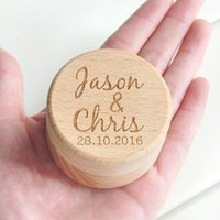 ring personalize NZ - Personalized Rustic Wedding Wood Ring Box Holder Custom Your Names and Date Wedding Ring Bearer Box