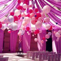 Wholesale Light Pink Paper Lanterns - 30 cm wedding paper lanterns color lighting ceiling cover holiday wedding celebration decoration