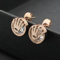 Wholesale Gold Studded Earrings - Foreign trade crown stud earrings wholesale jewelry hand-studded earrings 18K rose gold ladies earrings