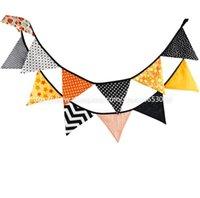 chevron bebé conjuntos al por mayor-12 unids / set Banners de tela de algodón de Halloween Bunting Decoración Fiesta de cumpleaños Baby Shower Decoración Jardín pascua chevron dot banner