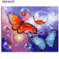 ingrosso la farfalla ha incorniciato la pittura a olio-DRAWJOY Pittura ad olio con cornice Pittura fai da te con numeri Colorare con i numeri Farfalla Decorazione domestica 40 * 50cm