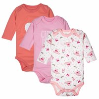 Wholesale garment bodysuits resale online - Newborn Baby Bodysuits Baby Girls Clothing Long Sleeved Cotton Child Garment Toddler Underwear Infant Clothes Set