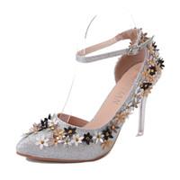 hochzeit blumen high heel großhandel-Sexy Frauen Pumps Bling High Heels Damen Pumps Blume High Heel Schuhe Frau Hochzeit Schuhe Gold Silber