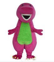 trajes de cola marrón al por mayor-2018 Factory Outlets Hot Profesión Barney Dinosaur Trajes de la mascota de dibujos animados de Halloween Tamaño adulto Vestido de lujo
