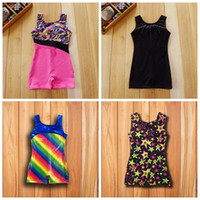 Wholesale wholesale toddler girl tank - Baby girls kids toddlers shiny sports sparkle gymnastics Tank ballet leotards latin 4-10Y dancewear child dancing clothes