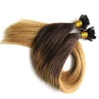 düz bağlanmış saç uzatmaları toptan satış-Düz İpucu Ön Gümrük Uzantıları Düz Ucu Ombre Saç T2 / 27 100% Remy İnsan Saç Tırnak Ucu Saç Uzantıları