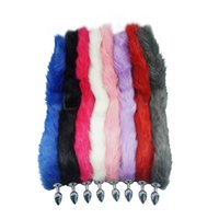 Wholesale sex fox tail resale online - 8 color for choose cm length long fox Tail Dia mm Anal Plug Metal Butt plug Role Play Flirting Fetish hot dog tail sex Toy S924