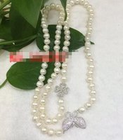 Wholesale 9mm chain resale online - New natural freshwater white Nearround pearl MM necklace quot Sweater chain necklace