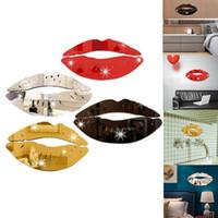 beijo mural venda por atacado-Criativo 3D Beijo Lábios Adesivo De Parede DIY Espelho Acrílico Adesivo de Superfície Para Decalques de Casa de Banho Art Mural Home Decor