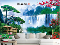 Wholesale modern feng shui for sale - Group buy 3d wallpaper custom photo Welcome song waterfall feng shui landscape decoration painting TV sofa backg3d wall muals wall paper for walls d