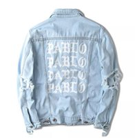Wholesale pablo clothes for sale - Group buy Hot Sales KANYE West PABLO Print Single Breasted Denim Jacket Streetwear Lapel Neck Damaged Ripped Men Jackets Male Tops Denim Clothing