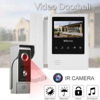 cableado del video portero al por mayor-KKmoon Kits de 4,3 pulgadas con monitor LCD, videoportero, por cable, timbre de la puerta, soporte de audio bidireccional, video a prueba de lluvia, sistema de intercomunicación de teléfono