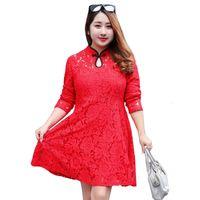 Wholesale Plus Size Chinese Dresses Clothing - LZJN Long Sleeve Midi Dress Women Black Lace Dresses Plus Size Clothing Red Floral Shirt Dress Chinese Style Cheongsam 0565