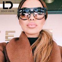 diseños de visión al por mayor-DOLCE VISION Flat Top Gafas de sol para mujer diseño de gran tamaño gafas de sol mujeres UV400 Gradient marca Semicircle Oculos mujer