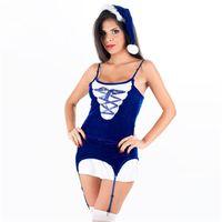 vestido de noiva sexy santa claus venda por atacado-Hot erótico santa claus outfit sexy azul royal veludo cosplay extravagante lace-up 3 peça peludo natal traje