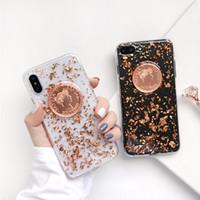 Wholesale shining tpu case - Retro Gold Foil Phone Case For Iphone X Fashion Glitter Shining Sequins Cover Soft TPU Case For Iphone 6 7 8 Plus