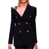 sexy schwarze frauenjacken großhandel-HOHE QUALITÄT New Fashion 2019 Runway Designer Schwarz Sexy Blazer Jacke Damen Zweireiher Diamanten Blazer