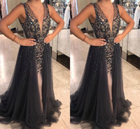 Wholesale beautiful lighting design online - Evening Dresses Ball Gown Beautiful V Neck Beaded Tulle Prom Dress Special Occasion Tiered Skirts Elegant Beading Newest Design