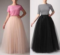 yetişkinler için tutuş toptan satış-Artı Boyutu Basit Kadın Etekler Tüm Renkler 5 katmanlı Kat Uzunluk 2018 yetişkin Uzun Tutu Moda Tül Etek Bir Çizgi Ücretsiz Nakliye Uzun Etekler