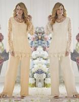 noiva da mãe do decote da ilusão venda por atacado-Plus Size Mães Ternos Pant Jóia Decote Rendas Ilusão Mangas Compridas Dois Pedaços Mãe Da Noiva Vestidos DH365