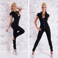 Wholesale denim jumpsuits for women - Women Black Overalls For Women Rompers Autumn Fashion Denim Long Jumpsuit Sexy Deep V Neck Jean Jumpsuits Buttons Chain