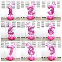 ingrosso palloncini della luna-Numero di corona Palloncino foil Numero 32 pollici Bambini Festa di compleanno Baby Full Moon Disposizione Decorare Strumenti Palloncini in alluminio 5tk gg