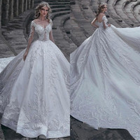Wholesale luxurious cathedral wedding dresses for sale - Group buy 2019 Luxurious Long Sleeve Sheer Neck Ruffle Applique Lace Wedding Dresses Hollow Zipper Back Long Tail Bridal Gown Free Ship