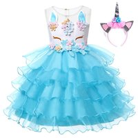 Wholesale wholesale beaded wedding dresses online - Girls Unicorn Princess Costume Flower Girl Wedding Ball Gown Kids Sleeveless Embroidery Baby Birthday Party Tutu Dress
