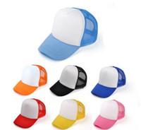 chapeaux ajustables pour enfants achat en gros de-Enfants Casquettes de baseball Logo personnalisé Enfants Blank Casquettes de camionneur Réglable Snapback Casquettes de camionneur Strapback Summer Sun Visor MOQ 30 pcs