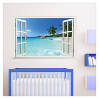 Wholesale beach art decor for sale - Group buy Wallpaper Home Decoration Large Removable Beach Sea D Window Decal Wall Sticker Home Decor Exotic Beach View Art Mural