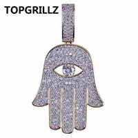 göz yadigarı kolye toptan satış-TOPGRILLZ Hip Hop Fatima El Göz Kolye Kolye Altın Renk Kaplama Mikro Açacağı Kübik Zirkonya Gerdanlık Erkekler Kadınlar Için Üç Zincirler