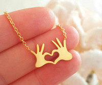Wholesale environmental necklaces for sale - Group buy Europe and America Hot Sell Palm Pendant Necklace Environmental Protection Plating Gold and Silver Peach Heart Love Necklace Collarbone Chai