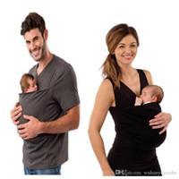 calções cangurus venda por atacado-Correspondência de Família Transportadora de Bebê Roupas Canguru T-Shirt para o Pai Mãe com Bebê Curto-manga Grande Bolso T-shirt T-shirt Top DH165