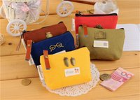 Wholesale Cheapest Purses - Unisex Cheapest Canvas Cartoon Candy Color Retro Small Coin Change Purse Key Car Pouch Little Money Bag Lady Mini Coin Wallet TO403